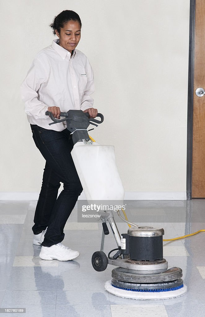 Janitorial Services - Woman Polishing Office Floor : Stock Photo
