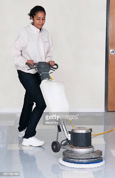 Janitorial Services - Woman Polishing Office Floor