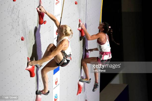 Janja Garnbret of Slovenia and Lucka Rakovec of Slovenia compete in the Speed during Combined Women's Qualification on day eight of the IFSC Climbing...