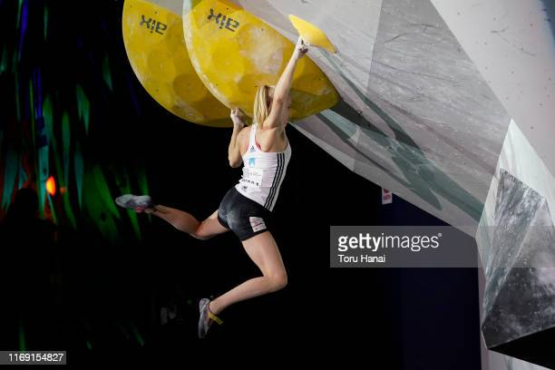 Janja Garnbret of Slovenia competes in the Bouldering during Combined Women's Final on day ten of the IFSC Climbing World Championships at the...