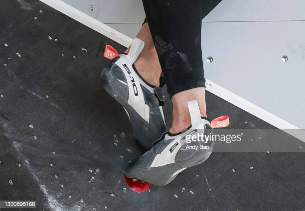 Janja Garnbret of Slovenia competes with her Adidas 5.10 climbing shoes during the finals of the IFSC Climbing World Cup at Industry SLC on May 30,...
