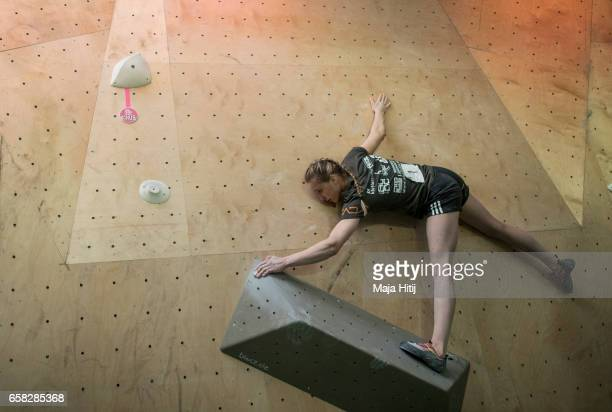 Janja Garnbret of Slovenia during women finals of bouldering event Studio Bloc Masters 2017 on March 26 2017 in Pfungstadt Germany