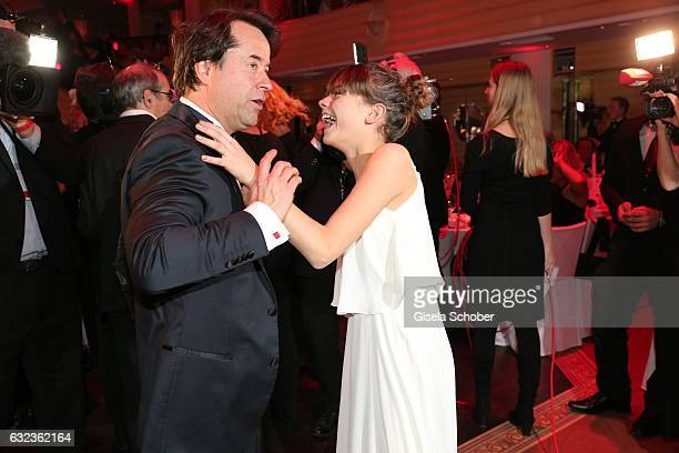 JanJosef Liefers dances with his film daughter Harriet HerbigMatten during the 44th German Film Ball 2017 party at Hotel Bayerischer Hof on January...