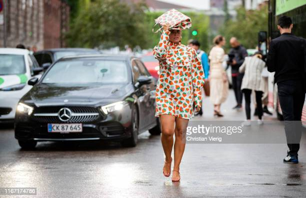 Janka Polliani is seen wearing dress and bag with print outside Saks Potts during Copenhagen Fashion Week Spring/Summer 2020 on August 08 2019 in...