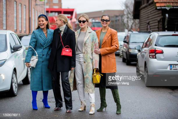 Janka Polliani seen wearing blue checkered coat, Tine Andrea wearing red Hermes bag, black blazer, Annabel Rosendahl wearing coat with print, Loewe...