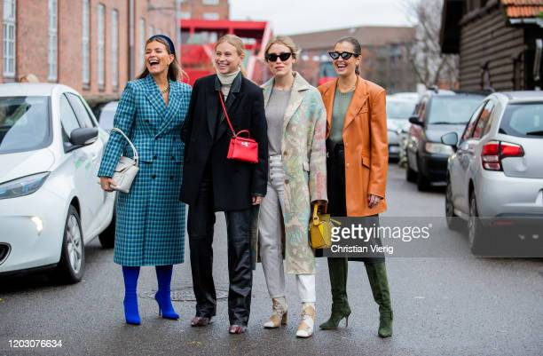 Janka Polliani seen wearing blue checkered coat, Tine Andrea wearing red Hermes bag, black blazer, Annabel Rosendahl wearing coat with print, Loewe...