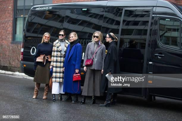 Janka Polliani Tine Andreea Darja Barannik Annabel Rosendahl Celine Aagaard outside the Line of Oslo show on January 26 2018 in Oslo Norway