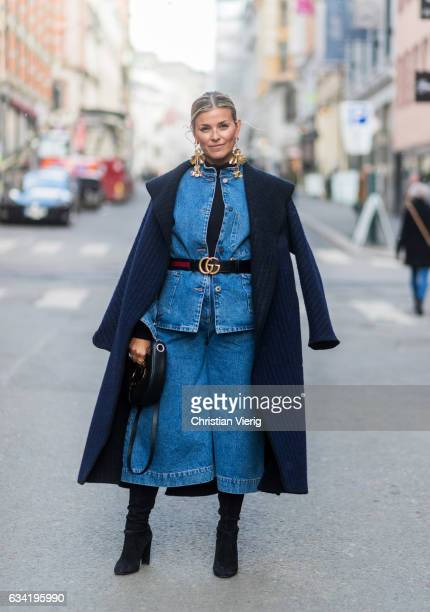 Janka Polliani wearing a Gucci belt denim jacket denim pants navy coat Loewe bag on February 7 2017 in Oslo Norway