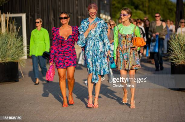 Janka Polliani wearing dress, Marianne Theodorsen wearing blue dress with floral print and Annabel Rosendahl wearing dress, and Bottega Veneta bag in...
