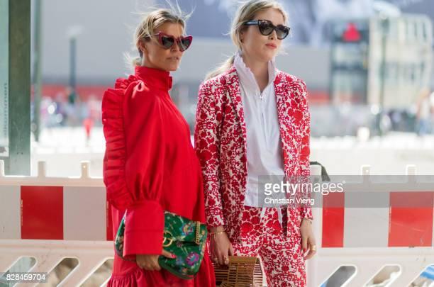 Janka Polliani wearing red dress green Gucci bag and Annabel Rosendahl outside Munthe on August 09 2017 in Copenhagen Denmark
