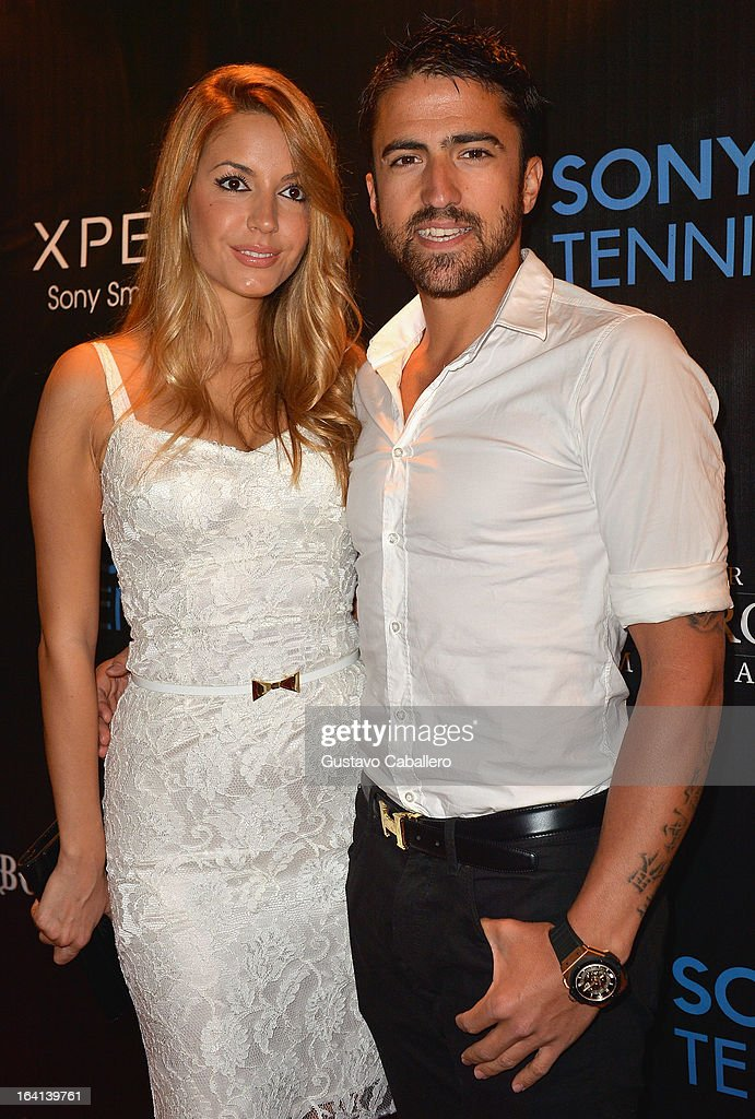 Janko Tipsarevic and guest arrives at Sony Open Player Party 2013 at JW Marriott Marquis on March 19, 2013 in Miami, Florida.