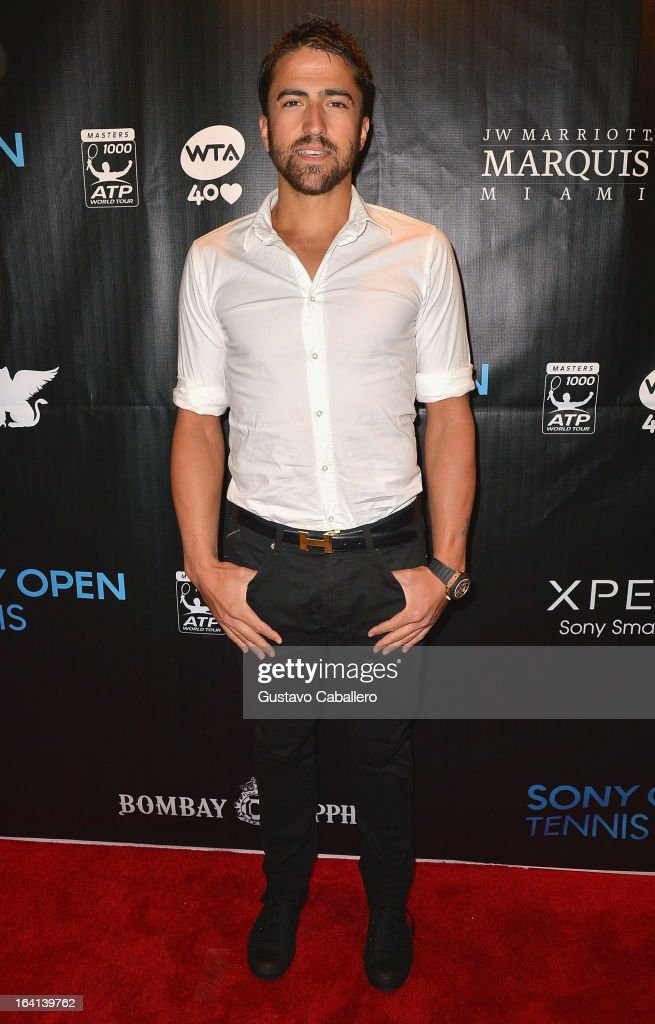 Janko Tipsarevic arrives at Sony Open Player Party 2013 at JW Marriott Marquis on March 19, 2013 in Miami, Florida.