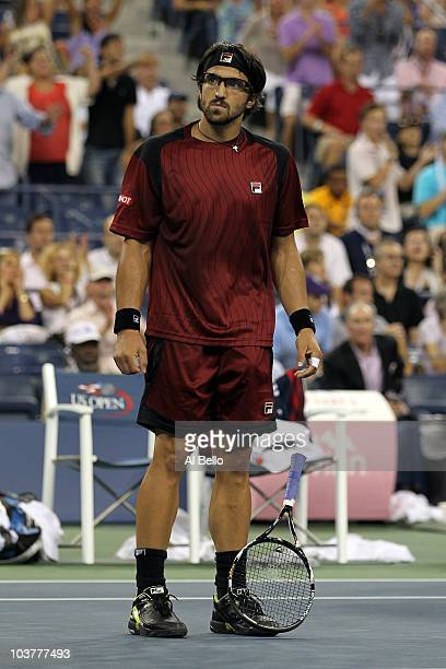 Janko Tipsarevic of Serbia celebrates after defeating Andy Roddick of the United States during his second round men's singles match on day three of...