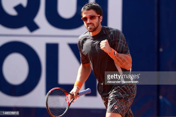 Janko Tipsarevic of Serbia celebrates during his semi finale match against Thomaz Bellucci of Brazil during the Mercedes Cup 2012 at the TC...