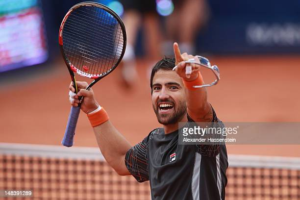 Janko Tipsarevic of Serbia celebrates victory after winning his finale match against Juan Monaco of Argentinia during day 6 of Mercedes Cup 2012 at...