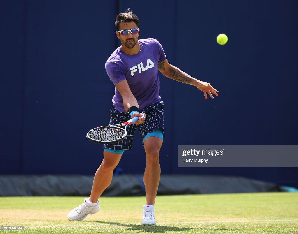 Janko Tipsarevic of Serbia hits a forehand shot during a practice session ahead of the Aegon Championships at Queens Club on June 18, 2017 in London, England.