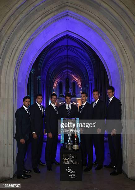 Janko Tipsarevic of Serbia, Jo-Wilfried Tsonga of France, Novak Djokovic of Serbia, Roger Federer of Switzerland, Andy Murray of Great Britain, Tomas...