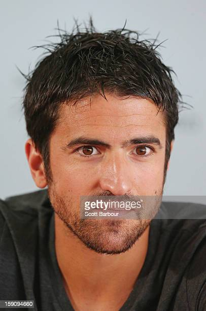 Janko Tipsarevic of Serbia looks on during the AAMI Classic press conference at Kooyong on January 8, 2013 in Melbourne, Australia.