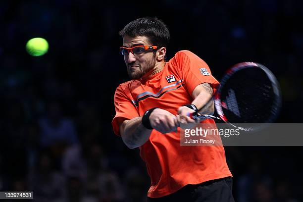 Janko Tipsarevic of Serbia returns the ball during the men's singles match against Tomas Berdych of Czech Republic during the Barclays ATP World Tour...