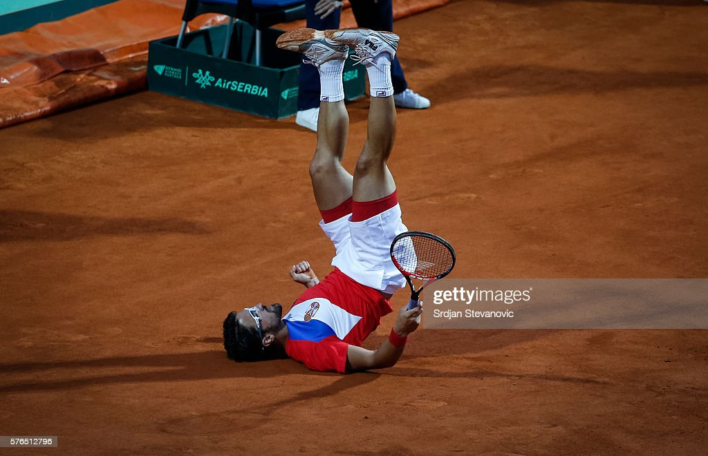 Serbia v Great Britain - Davis Cup World Group Quarter-Final: Day One : News Photo