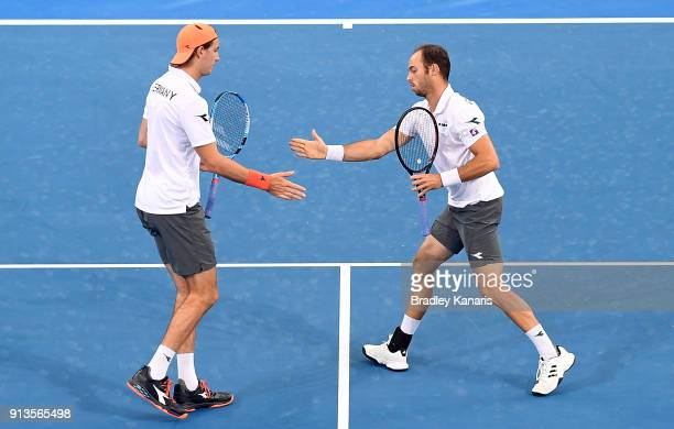 Jan-Lennard Struff and Tim Putz of Germany celebrate in the doubles match against Matt Ebden and John Peers of Australia during the Davis Cup World...