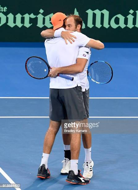 Jan-Lennard Struff and Tim Putz of Germany celebrate victory in the doubles match against Matt Ebden and John Peers of Australia during the Davis Cup...