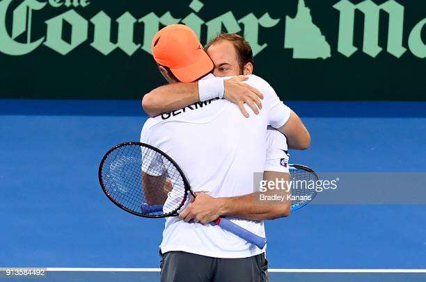 JanLennard Struff and Tim Putz of Germany celebrate victory in the doubles match against Matt Ebden and John Peers of Australia during the Davis Cup...