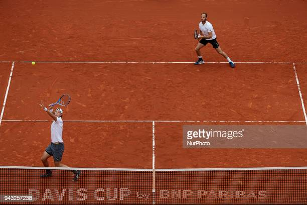 JanLennard Struff and Tim Putz of Germany in action in their doubles match against Feliciano Lopez and Marc Lopez of Spain during day two of the...