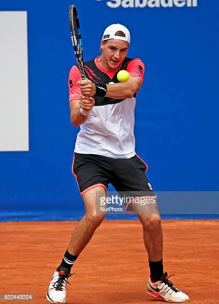 JanLennard Struff in the match against Edouard RogerVasselin during the qualifying of the Open Banc Sabadell 64 Trophy Conde de Godo played on the...