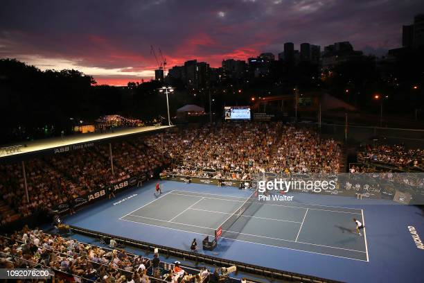 JanLennard Struff of Germany against Pablo Carreno Busta of Spain in their Mens Quarterfinal match during the ASB Classic at the ASB Tennis Centre on...