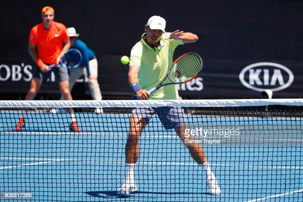 JanLennard Struff of Germany and Ben McLachlan of Japan compete in their second round men's doubles match against Feliciano Lopez of Spain and Marc...