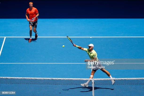 JanLennard Struff of Germany and Ben McLachlan of Japan compete in their men's doubles semifinal match against Oliver Marach of Austria and Mate...