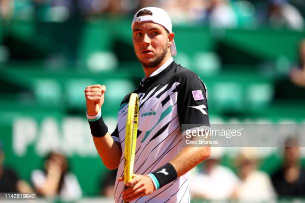 JanLennard Struff of Germany celebrates a point against Denis Shapovalov of Canada in their first round matchduring day two of the Rolex MonteCarlo...