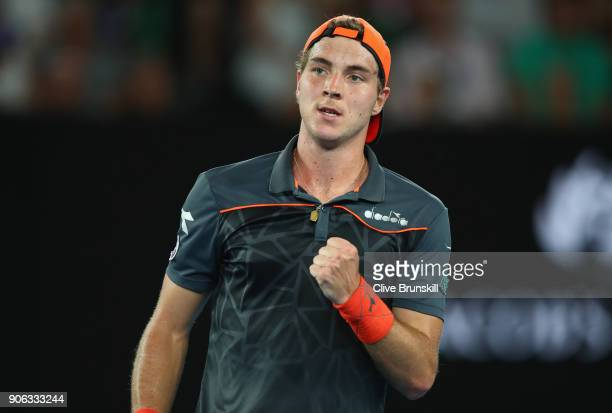 JanLennard Struff of Germany celebrates a point in his second round match against Roger Federer of Switzerland on day four of the 2018 Australian...