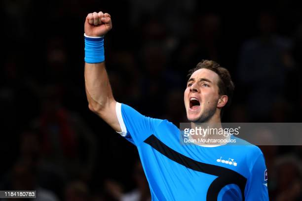 Jan-Lennard Struff of Germany celebrates victory over Karen Khachanov of Russia on day 2 of the Rolex Paris Masters, part of the ATP World Tour...