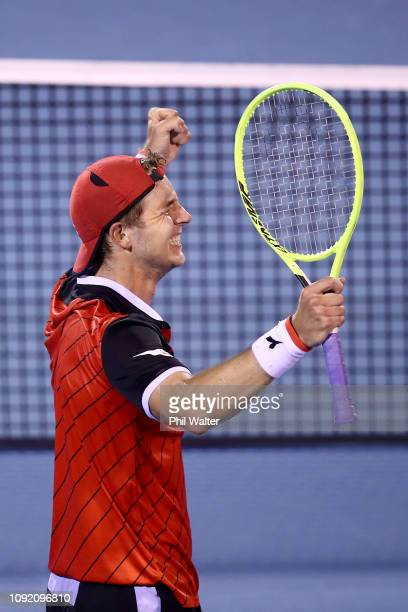 JanLennard Struff of Germany celebrates winning his Mens Quarterfinal match against Pablo Carreno Busta of Spain during the ASB Classic at the ASB...