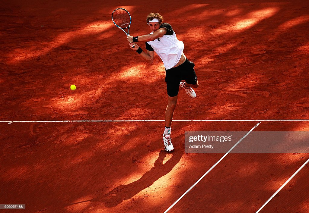 Jan-Lennard Struff of Germany hits a backhand during his match against Kamil Majchrzak of Poland during the 1st rubber of the Davis Cup Playoff between Germany and Poland at Steffi Graf Stadium on September 16, 2016 in Berlin, Germany.