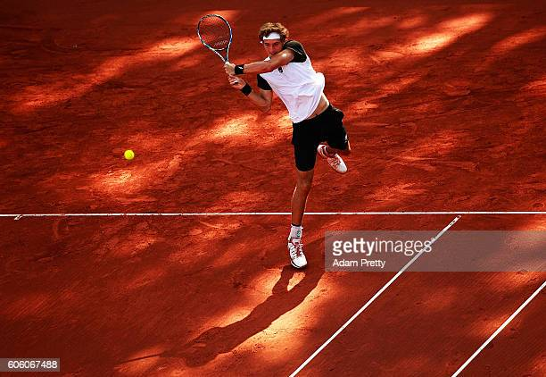 JanLennard Struff of Germany hits a backhand during his match against Kamil Majchrzak of Poland during the 1st rubber of the Davis Cup Playoff...