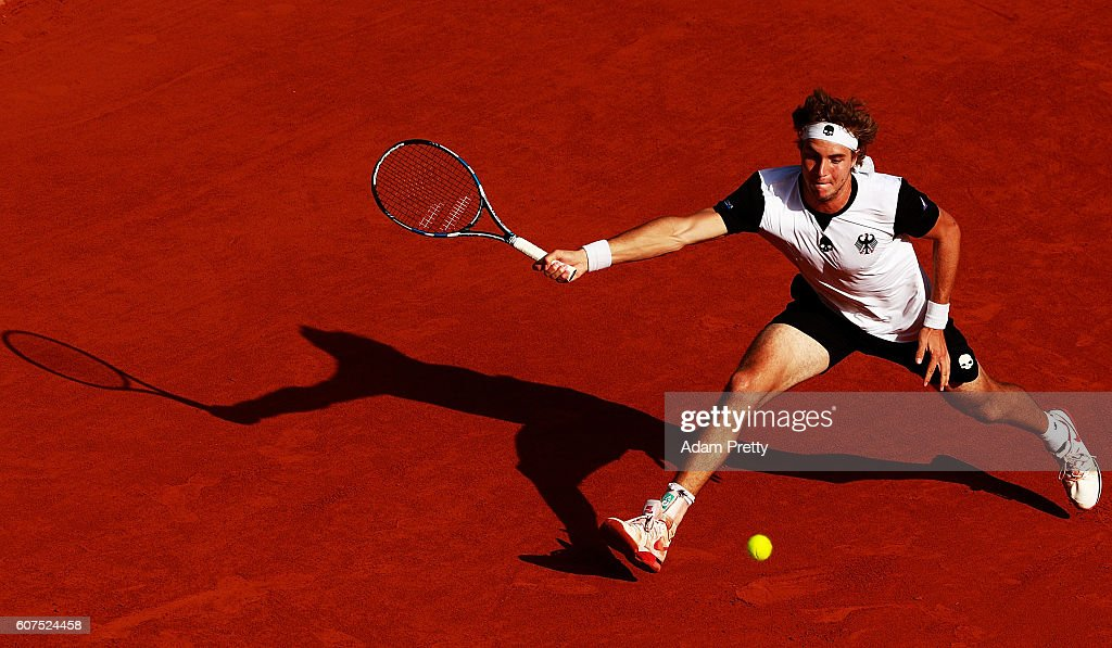 Jan-Lennard Struff of Germany hits a forehand on his way to winning the 5th rubber match between Jan-Lennard Struff of Germany and Hubert Hurkacz of Poland in the Davis Cup Playoff between Germany and Poland at Steffi Graf Stadium on September 18, 2016 in Berlin, Germany.