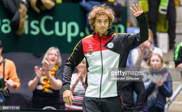 JanLennard Struff of Germany is seen during day two of the Davis Cup World Group first round between Germany and Belgium at Fraport Arena on February...