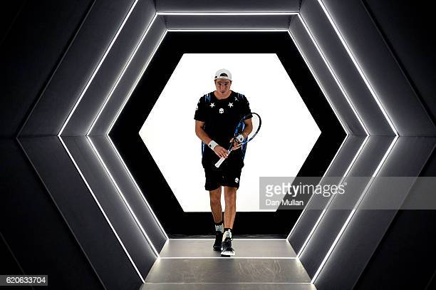 JanLennard Struff of Germany makes his way onto court to face Stan Wawrinka of Switzerland in the Mens Singles second round match on day three of the...