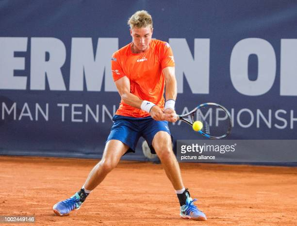 JanLennard Struff of Germany playing Evgeny Donskoy of Russia during the first round of the men's singles at the Tennis ATPTour German Open in...