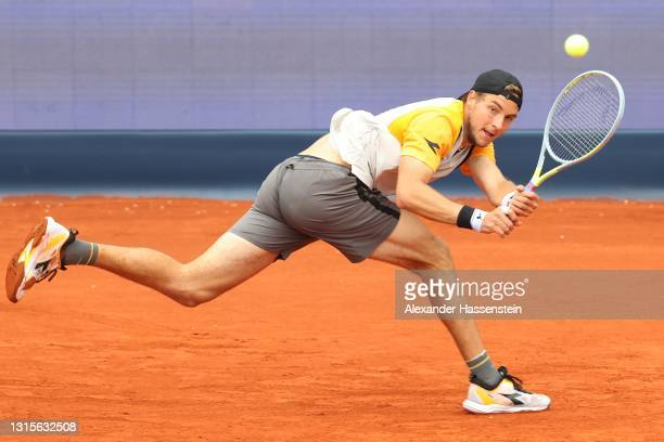 Jan-lennard Struff of Germany plays a aback hand during his semi final match against Ilya Ivashka of Belarus on day 8 of the BMW Open at MTTC IPHITOS...
