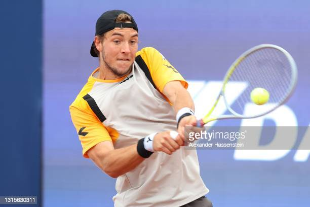 Jan-Lennard Struff of Germany plays a back hand during his semi final match against Ilya Ivashka of Belarus on day 8 of the BMW Open at MTTC IPHITOS...