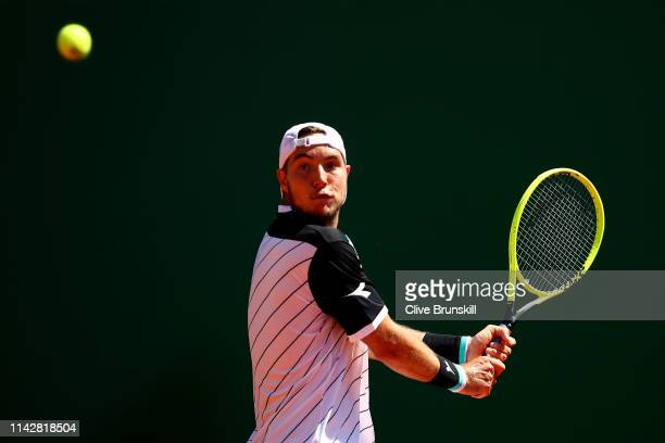 JanLennard Struff of Germany plays a backhand against Denis Shapovalov of Canada in their first round matchduring day two of the Rolex MonteCarlo...