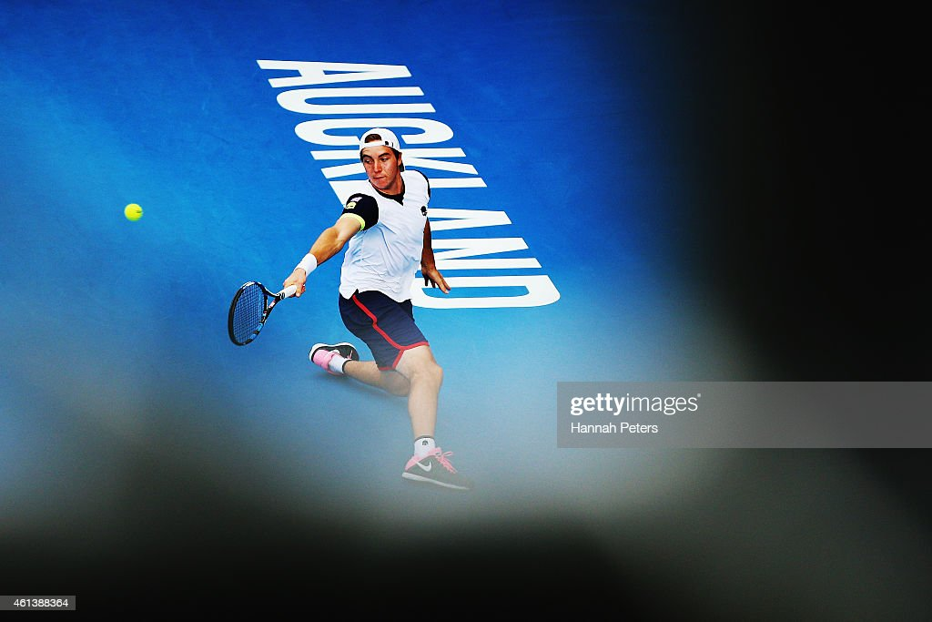 Jan-Lennard Struff of Germany plays a backhand during his match against Dominic Thiem of Austria during day one of the 2015 Heineken Open Classic at Auckland Tennis Centre on January 12, 2015 in Auckland, New Zealand.