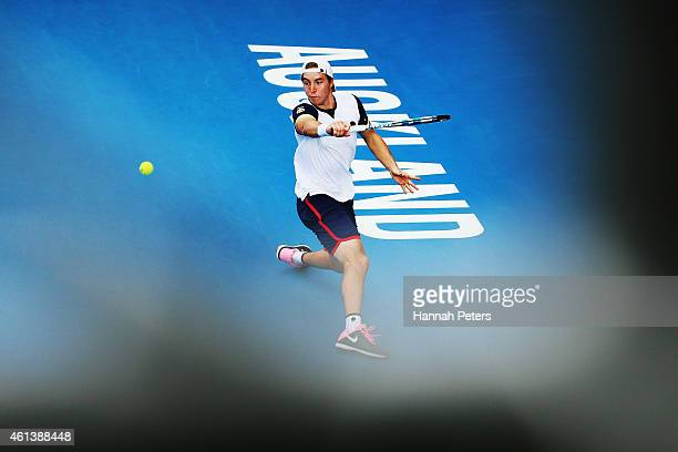 JanLennard Struff of Germany plays a backhand during his match against Dominic Thiem of Austria during day one of the 2015 Heineken Open Classic at...