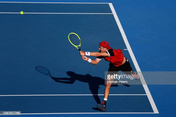 JanLennard Struff of Germany plays a backhand during his semi final match against Cameron Norrie of Great Britain during the 2019 ASB Classic at the...