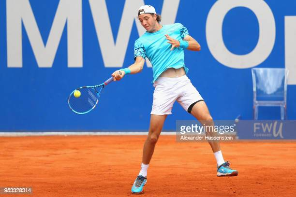 JanLennard Struff of Germany plays a fore hand during his first round match against Daniel Masur of Germany on day 4 of the BMW Open by FWU at MTTC...