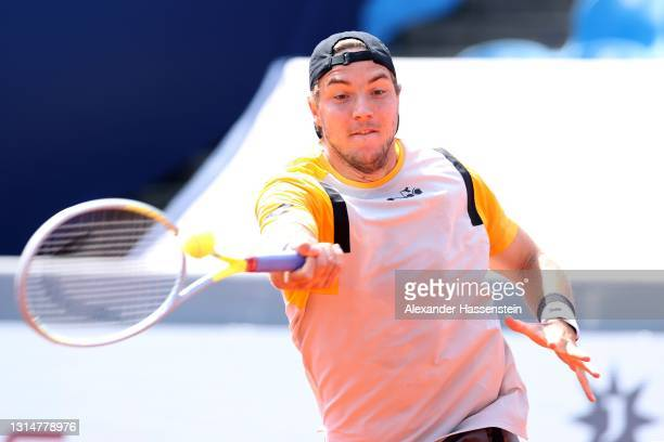 Jan-Lennard Struff of Germany plays a forehand during his 1st round match against Andrej Martin of Slovakia on day 4 of the BMW Open at MTTC IPHITOS...
